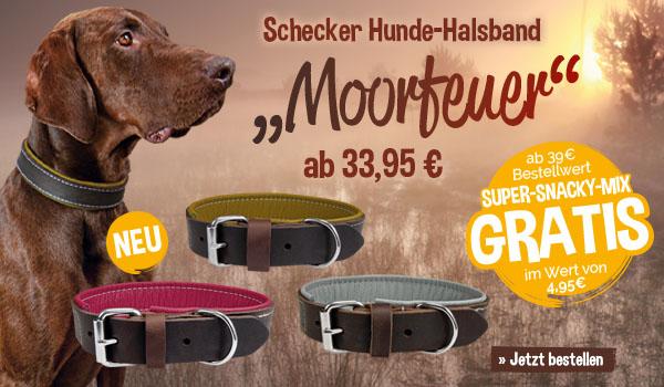 """Halsbänder Schecker """"Moorfeuer"""" + Gratis*-Snack """"Super-Snacky-Mix"""" ab 39€"""